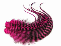 6 Pieces - Hot Pink Thick Long Grizzly Rooster Hair Extension Feathers