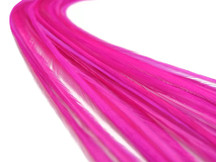 10 Pieces - Solid Hot Pink Thin Long Rooster Hackle Hair Extension Feathers