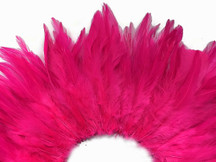 4 Inch Strip - Hot Pink Strung Chinese Rooster Saddle Feathers