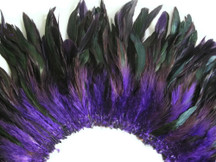 4 Inch Strip - Purple Dyed Half Bronze Strung Rooster Schlappen Feathers