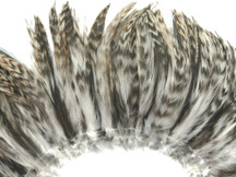 4 Inch Strip - Grey Chinchilla Strung Rooster Neck Hackle Feathers