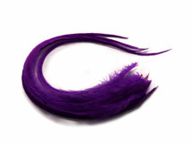 6 Pieces - Solid Purple Thick Long Rooster Hair Extension Feathers