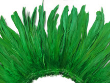 2.5  Inch Strip -  Green Strung Natural Bleach And Dyed Coque Tails Feathers
