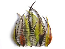 2 Dozen - Short Olive Mix Grizzly Rooster Hair Extension Feathers