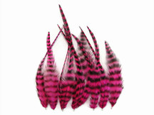 1 Dozen - Short Hot Pink Grizzly Rooster Hair Extension Feathers