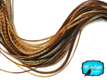 6 Pieces - Xl Unique Ginger Thin Grizzly Rooster Hair Extension Feathers