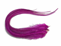 6 Pieces - Solid Magenta Thick Long Rooster Hair Extension Feathers