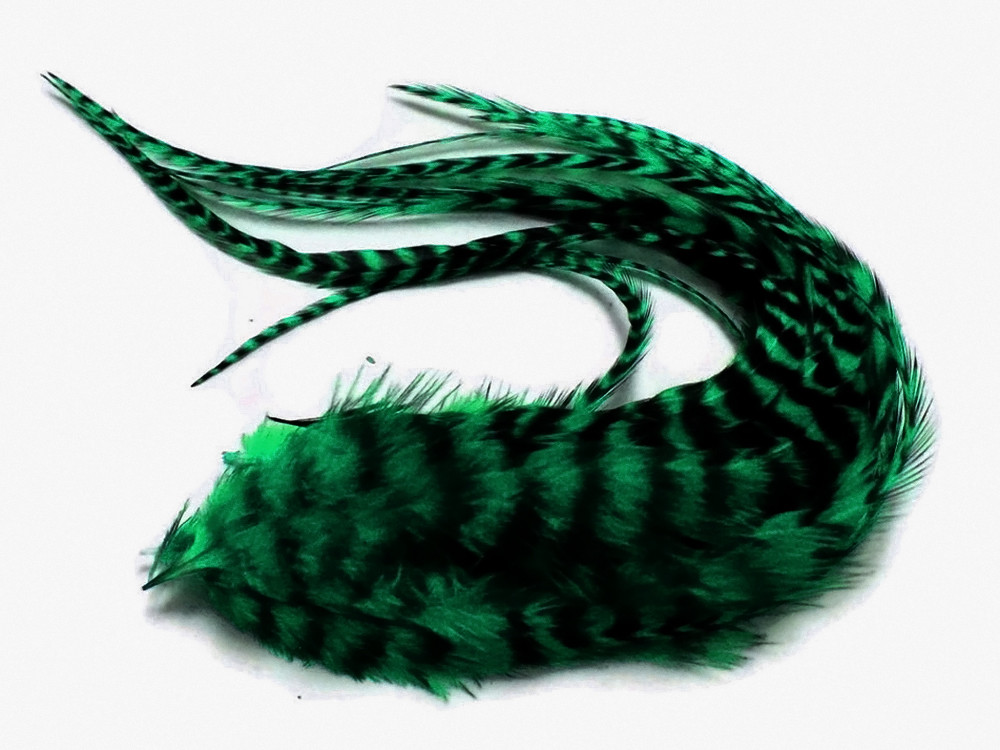 PEACOCK GREEN Thick Long Grizzly Rooster Hair Extension Feathers 6 Pieces