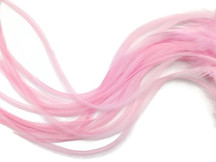 6 Pieces - Xl Solid Light Pink Thick Rooster Hair Extension Feathers