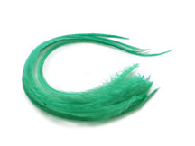 6 Pieces - Solid Mint Green Thick Long Rooster Hair Extension Feathers