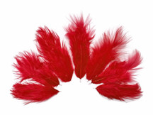 1 Dozen - Solid Red Rooster Fluff Feathers