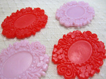 4 Pcs - Red Lip Large Antique Style Resin Frame Settings 49Mm