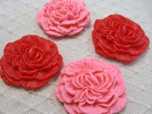 4 Pcs - In Love Carnation Flowers Cabochon Resin Set 33Mm