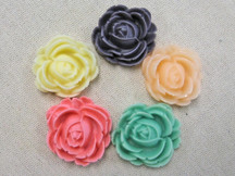 5 Pcs - Vintage Mix Rose Flower Flatback Cabochon Resin Set 29Mm