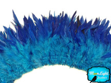 4 Inch Strip - Blue Two Tone Bleached And Dyed Strung Rooster Schlappen Feathers