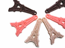 6 Pcs - PINK MIX Eiffel Tower Flatback Cabochon Resin Charm 44mm