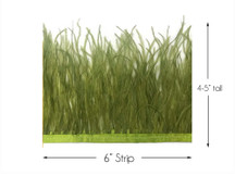 6 Inch Strip - Olive Green Ostrich Fringe Trim Feather