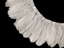 1 Yard - Bleached Snow White Goose Pallet Parried Feather Trim