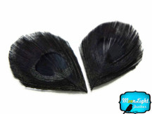 10 Pieces - Cut Eye Black Bleached And Dyed Tails Peacock Feathers