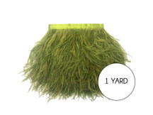 1 Yard - Olive Green Ostrich Fringe Trim Wholesale Feather (Bulk)