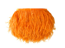 1 Yard - Orange Ostrich Fringe Trim Wholesale Feather (Bulk)