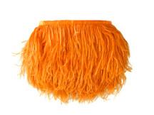 1 Yard - Orange Ostrich Fringe Trim Wholesale Feather (Bulk)
