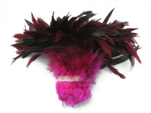 1 Yard - Hot Pink Half Bronze Strung Rooster Schlappen Wholesale Feathers (Bulk)