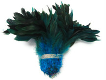1 Yard - Turquoise Half Bronze Strung Rooster Schlappen Wholesale Feathers (Bulk)