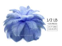 """1/2 Lb - 14-17"""" Light Blue Ostrich Large Drab Wholesale Feathers (Bulk)"""