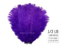 """1/2 Lb - 9-13"""" Purple Ostrich Drab Wholesale Feathers (Bulk)"""