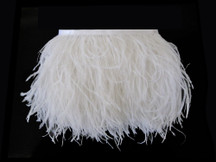 1 Yard - Snow White Ostrich Fringe Trim Wholesale Feather (Bulk)
