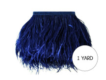 1 Yard - Navy Blue Ostrich Fringe Trim Wholesale Feather (Bulk)