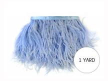 1 Yard - Light Blue Ostrich Fringe Trim Wholesale Feather (Bulk)