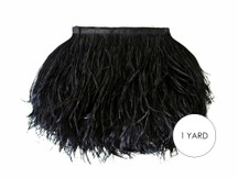 1 Yard - Black Ostrich Fringe Trim Wholesale Feather (Bulk)