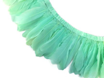 1 Yard - Aqua Green Goose Pallet Parried Dyed Feather Trim