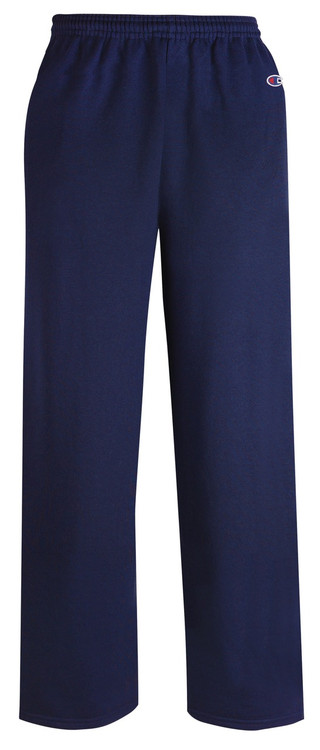Navy Front Champion P800 Powerblend Eco Fleece Open Bottom Pant With Pockets | Athleticwear.ca