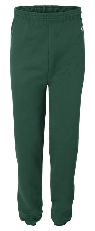 Dark Green Front Champion P900 Powerblend Eco Fleece Closed Bottom Pant | Athleticwear.ca
