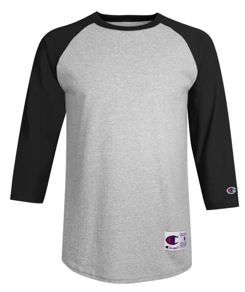 Oxford Gray/Black Front Champion T137 Raglan Baseball Tee | Athleticwear.ca