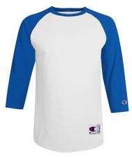 White/Team Blue Champion T137 Raglan Baseball Tee   Athleticwear.ca