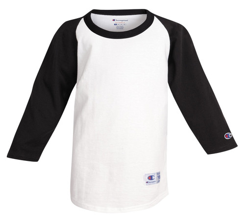 White/Black Front Champion T13Y Youth Raglan Baseball Tee | Athleticwear.ca
