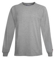 Light Steel Front Champion CC8C Long Sleeve Cotton Tee   Athleticwear.ca