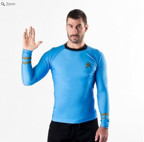 Fusion FG Star Trek Blue Sciences Rashguard.  Available at www.thejiujitsushop.com Mr Spock would be proud!  Enjoy all of the famous Star Trek Rashguards from The Jiu Jitsu Shop with FREE Shipping today!