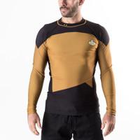 Fusion FG Star Trek, The Next Generation Gold unform. Operations rash guard.  Available at www.thejiujitsushop.com   Enjoy Free Shipping from The Jiu Jitsu Shop.