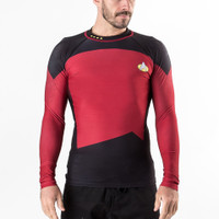 Fusion FG Star Trek The Next Generation Red uniform. Command rash guard.  Available at www.thejiujitsushop.com Join the ranks of the 24th century.  Join Patrick Stewart and the Red army today  Enjoy Free Shipping from The Jiu Jitsu Shop.