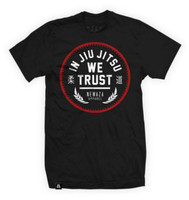 Newaza Apparel In Jiu Jitsu We Trust Red on Black.  From the Red October Collection.  Available at www.thejiujitsushop.com  Enjoy Free Shipping from The Jiu JItsu Shop today!