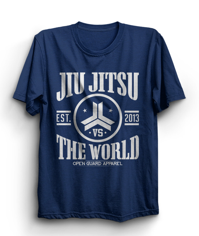 OGA Jiu Jitsu vs The World blue Heather T-Shirt.  Available at www.thejiujitsushop.com  Open Guard Apparel free shipping from The Jiu Jitsu Shop.