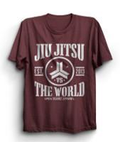 OGA Jiu Jitsu vs The World Cardinal Heather T-Shirt.  Available at www.thejiujitsushop.com  Open Guard Apparel free shipping from The Jiu Jitsu Shop.