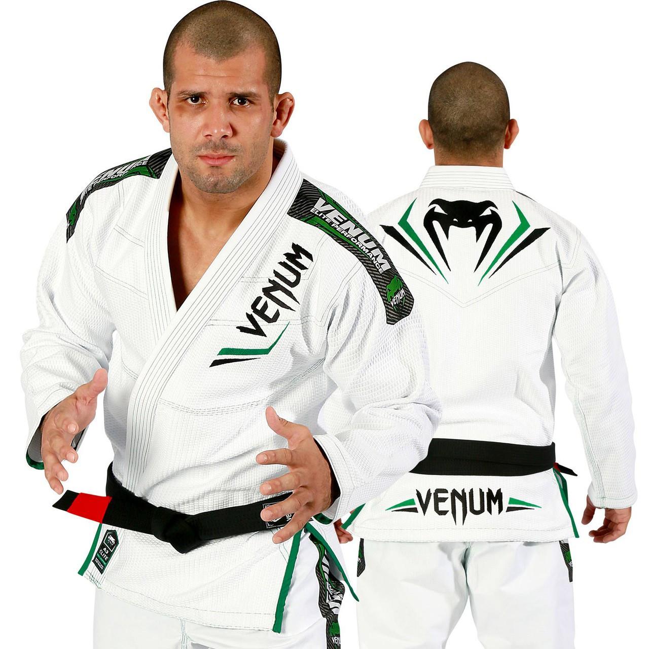 Venum Elite Bjj Gi White Green The Jiu Jitsu Shop