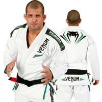 Venum Elite Jiu Jitsu Gi in white and green.  Now available at www.thejiujitsushop.com Front of gi is white with great green accents   Enjoy free shipping from The Jiu Jitsu Shop.  Top quality brazilian jiu-jitsu gear for men women and kids.