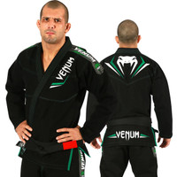 Venum Elite Jiu Jitsu Gi in black and green.  Now available at www.thejiujitsushop.com Front of gi is black with great green and white accents   Enjoy free shipping from The Jiu Jitsu Shop.  Top quality brazilian jiu-jitsu gear for men women and kids.